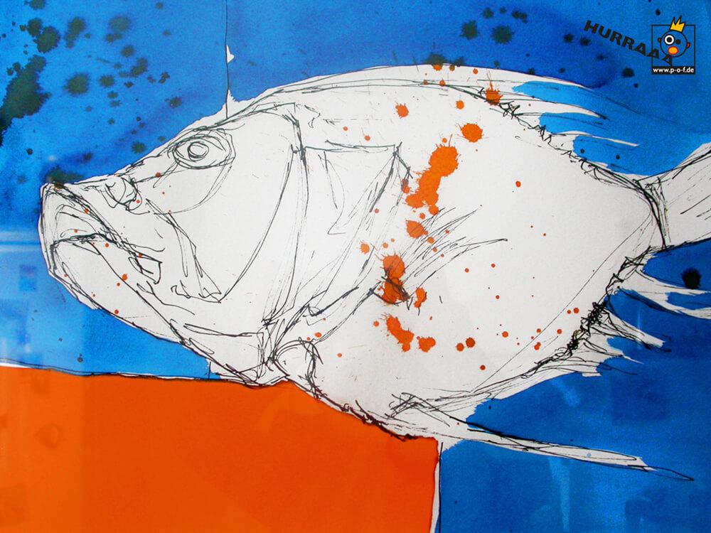 Petersfisch coloriert - schnelle Skizze vom Fischmarkt in Venedig