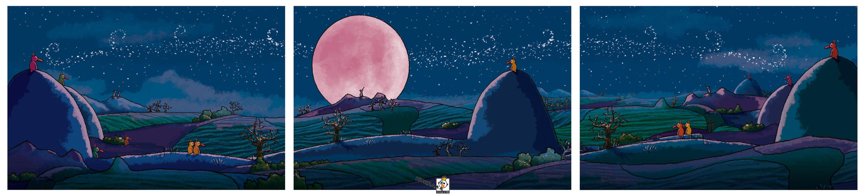 viele kleine Enten schauen einem Wolf zu, der den rosa Vollmond anheult