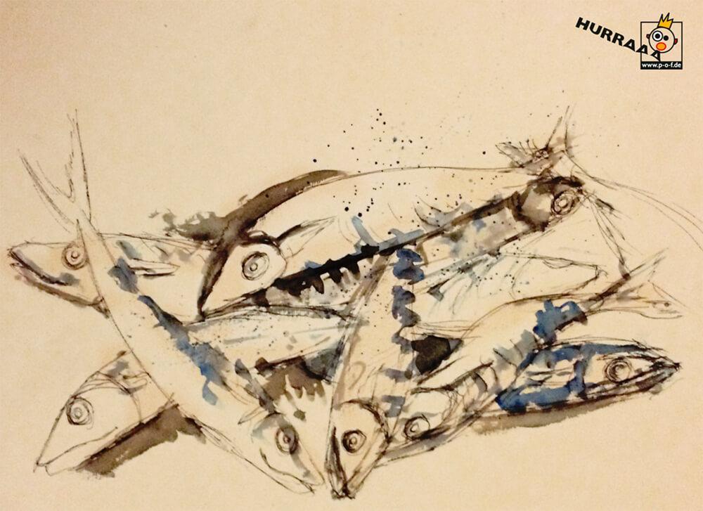 Heringe coloriert - schnelle Skizze vom Fischmarkt in Venedig