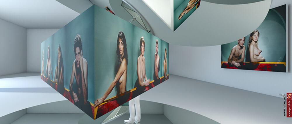 Virtueller Ausstellungsraum Sicht auf Dreieckanordnung