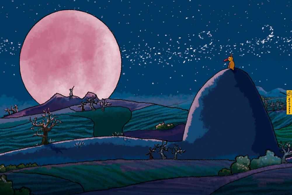 eine Ente sitzt auf einem Berg und schaut einem Wolf zu, der den rosa Vollmond anheult