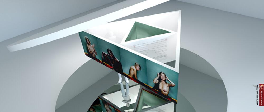 Virtueller Ausstellungsraum Sicht von oben auf Dreieckanordnung