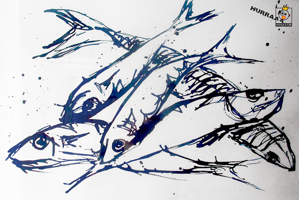 Heringe Zeichnung - schnelle Skizze vom Fischmarkt in Venedig