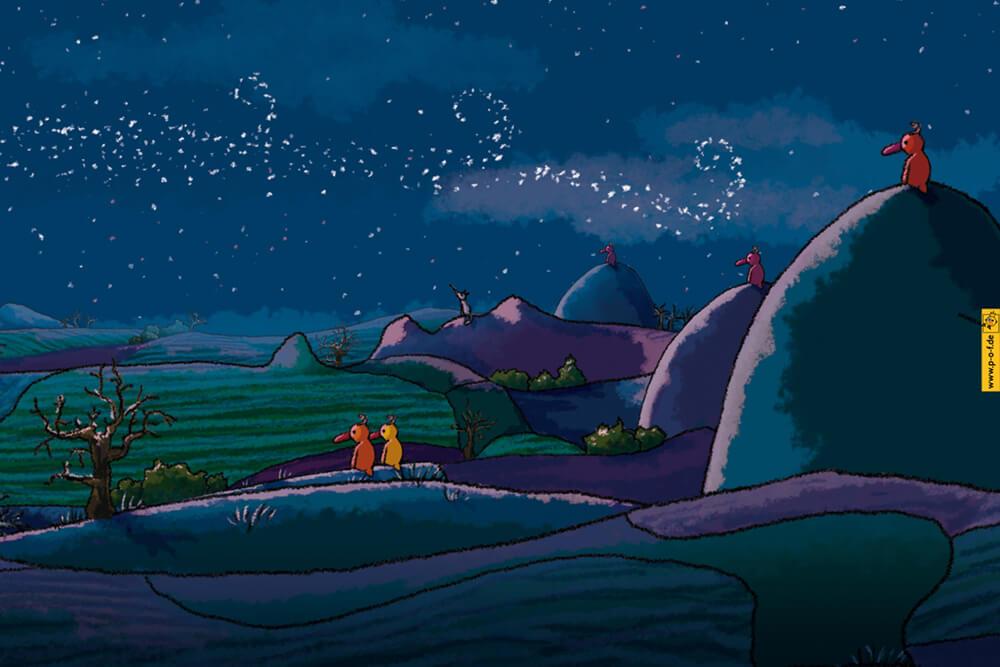 viele Enten sitzen in der Landschaft und genießen die Nacht