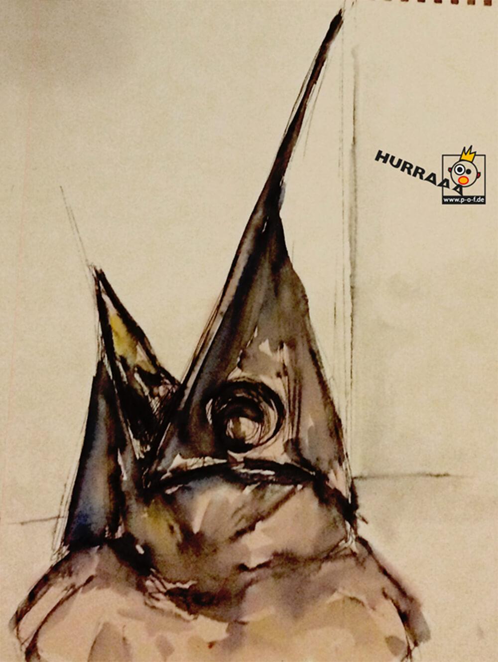 Schwertfisch coloriert - schnelle Skizze vom Fischmarkt in Venedig