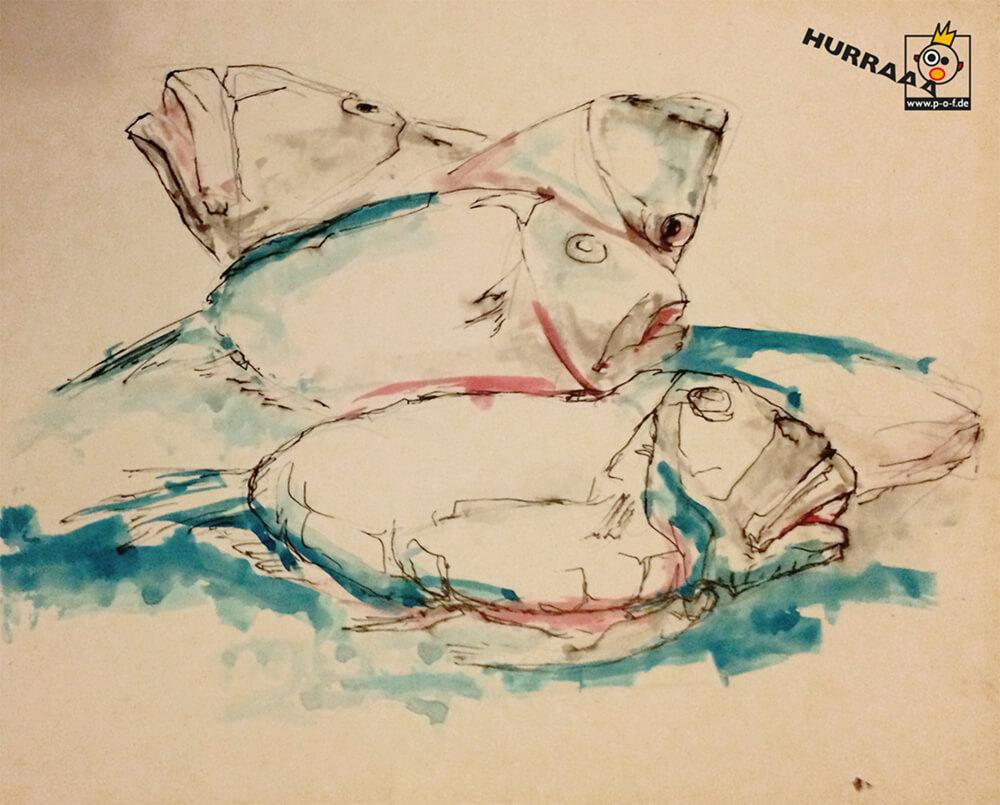 Petersfisch türkis coloriert - schnelle Skizze vom Fischmarkt in Venedig