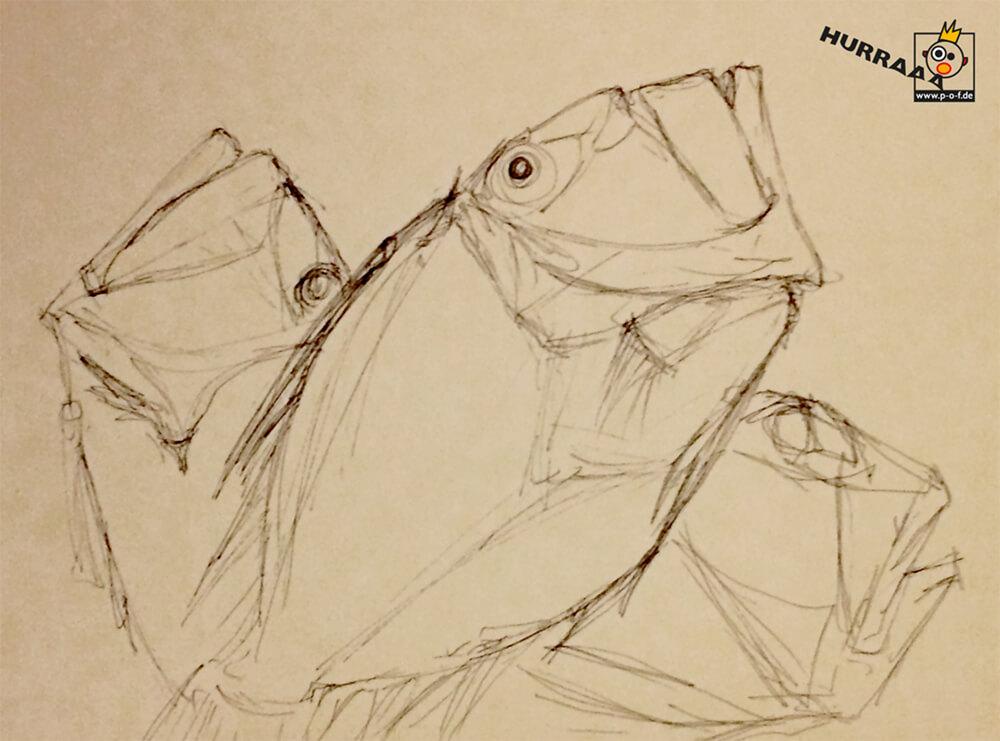 Petersfische Zeichnung - schnelle Skizze vom Fischmarkt in Venedig