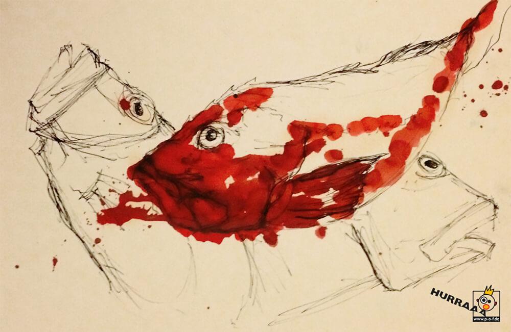 Petersfisch rot coloriert - schnelle Skizze vom Fischmarkt in Venedig