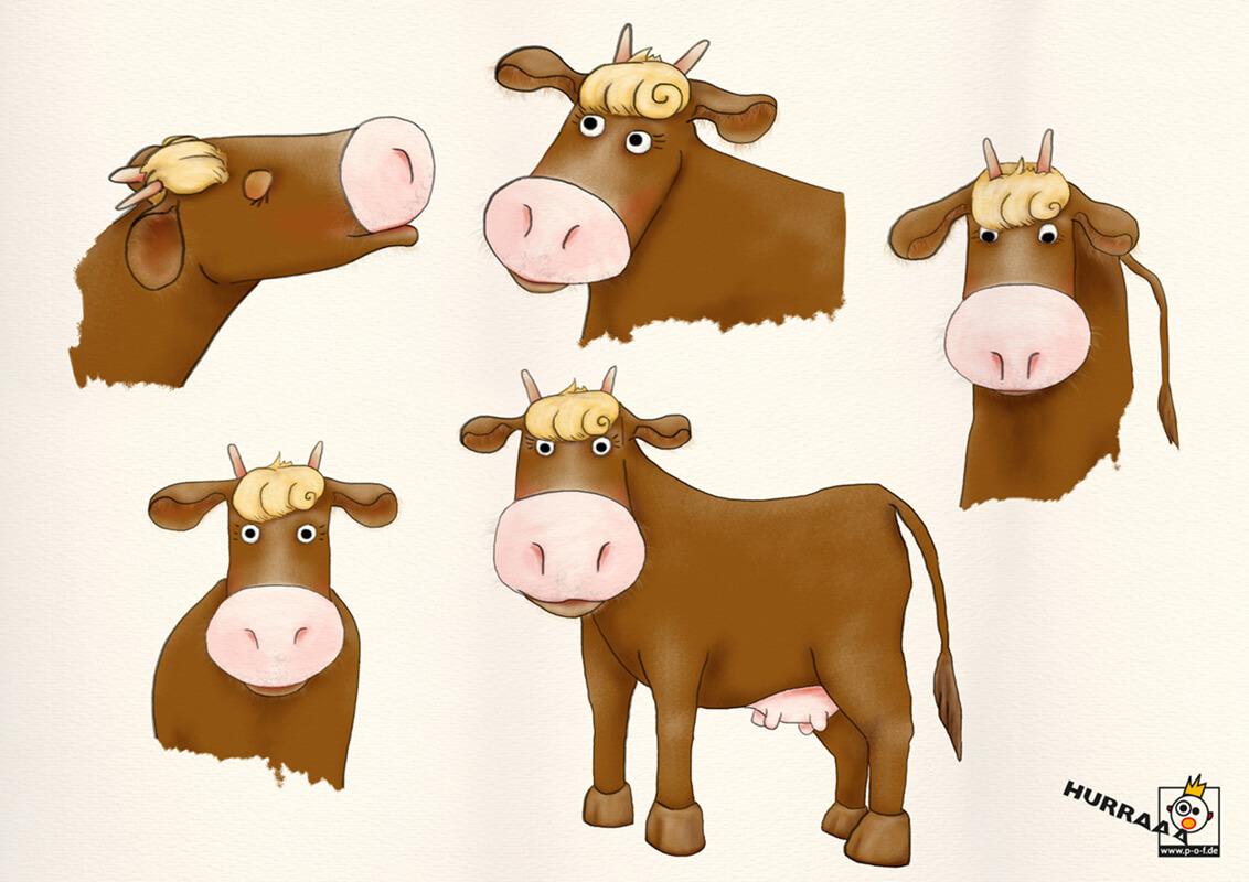 verschiedene Kuh-Posen