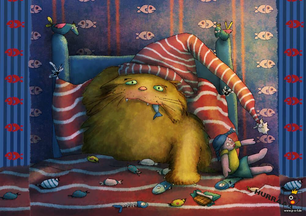 dicke Katze sitzt naschend im Bett