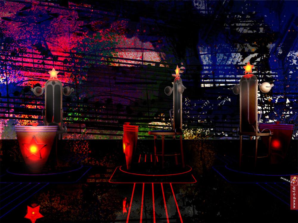 Visualisierung einer Showbühne - Stuhl ist von allen Seiten zu sehen