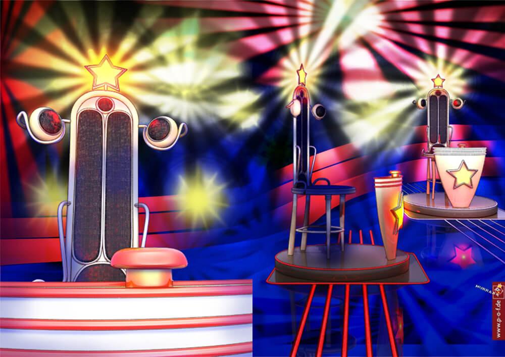Visualisierung einer Showbühne - drei Stühle mit Buzzer