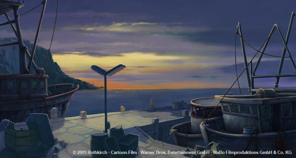 kleiner Eisbaer Film 2 - Schiffe im Sonnenaufgang