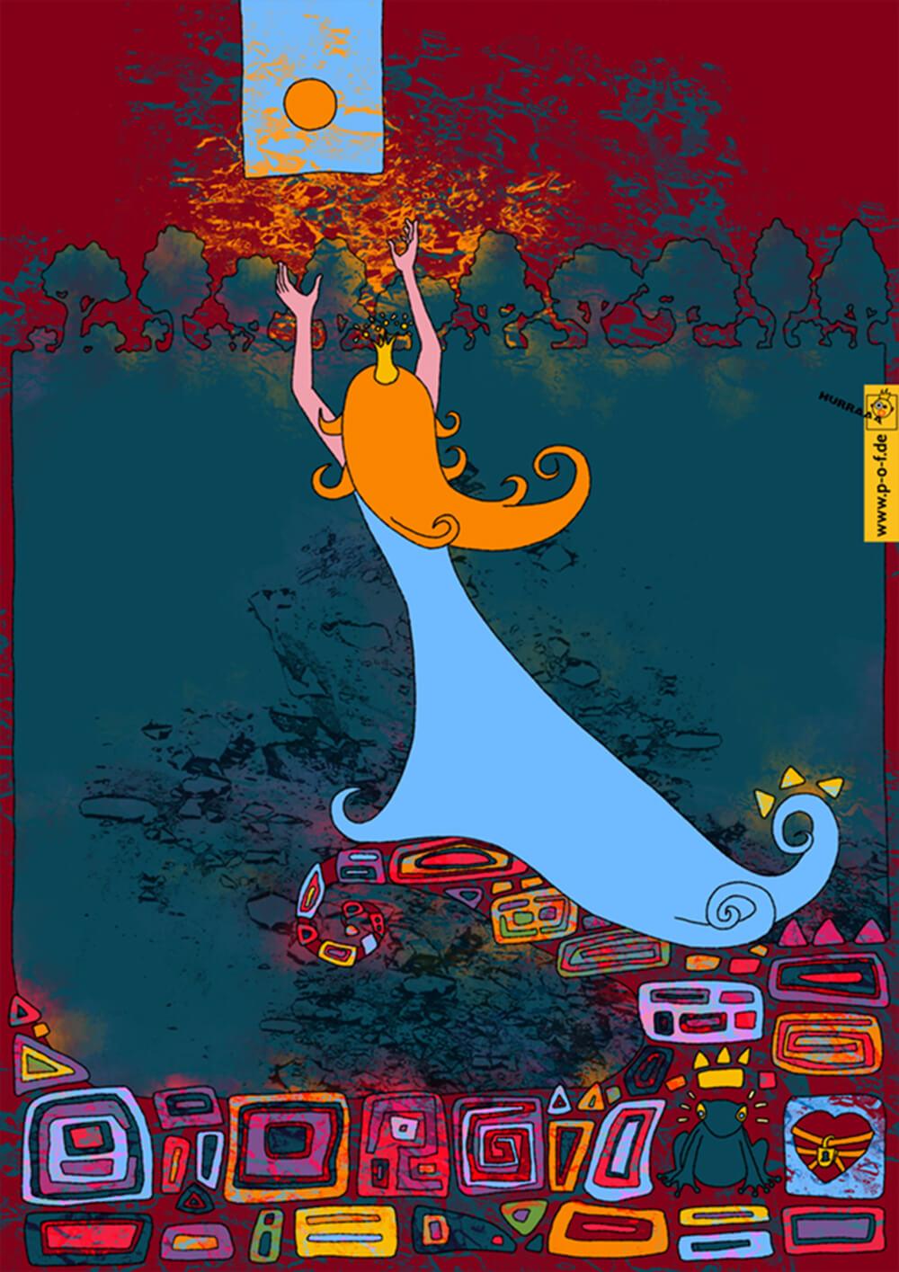 Prinzessin spielt mit ihrer Goldkugel