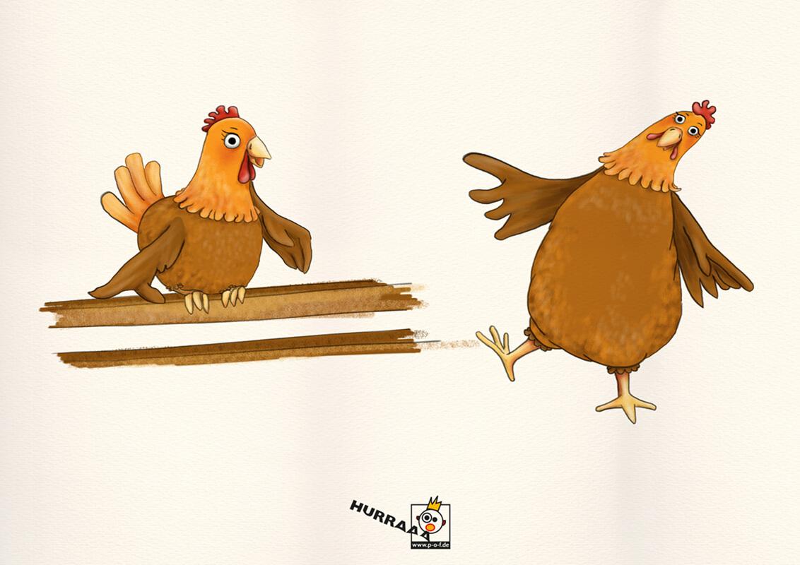 verschiedene Huhn-Posen