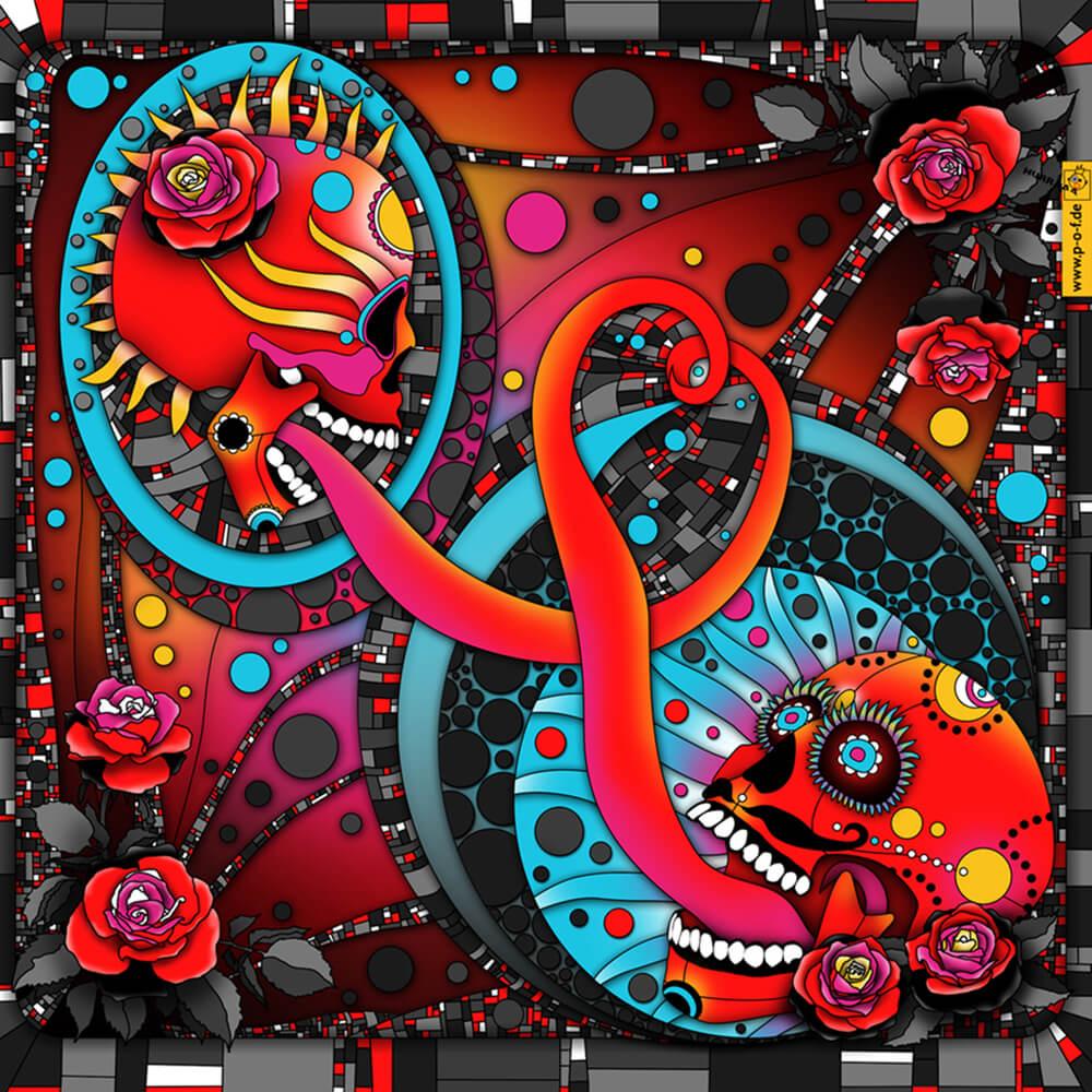 Santa Muerte Liebe - zwei Totenköpfe umschlingen farbenfroh ihre Zungen