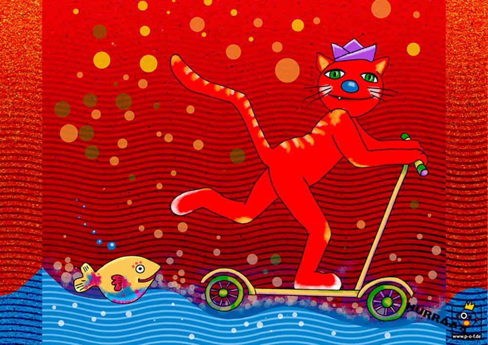 rote Katze fährt Roller am Meer
