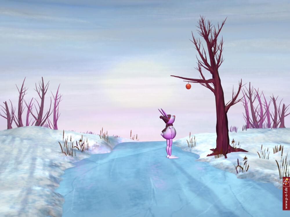 3D-Set-Landschaft in malerischer Optik mit Hasen