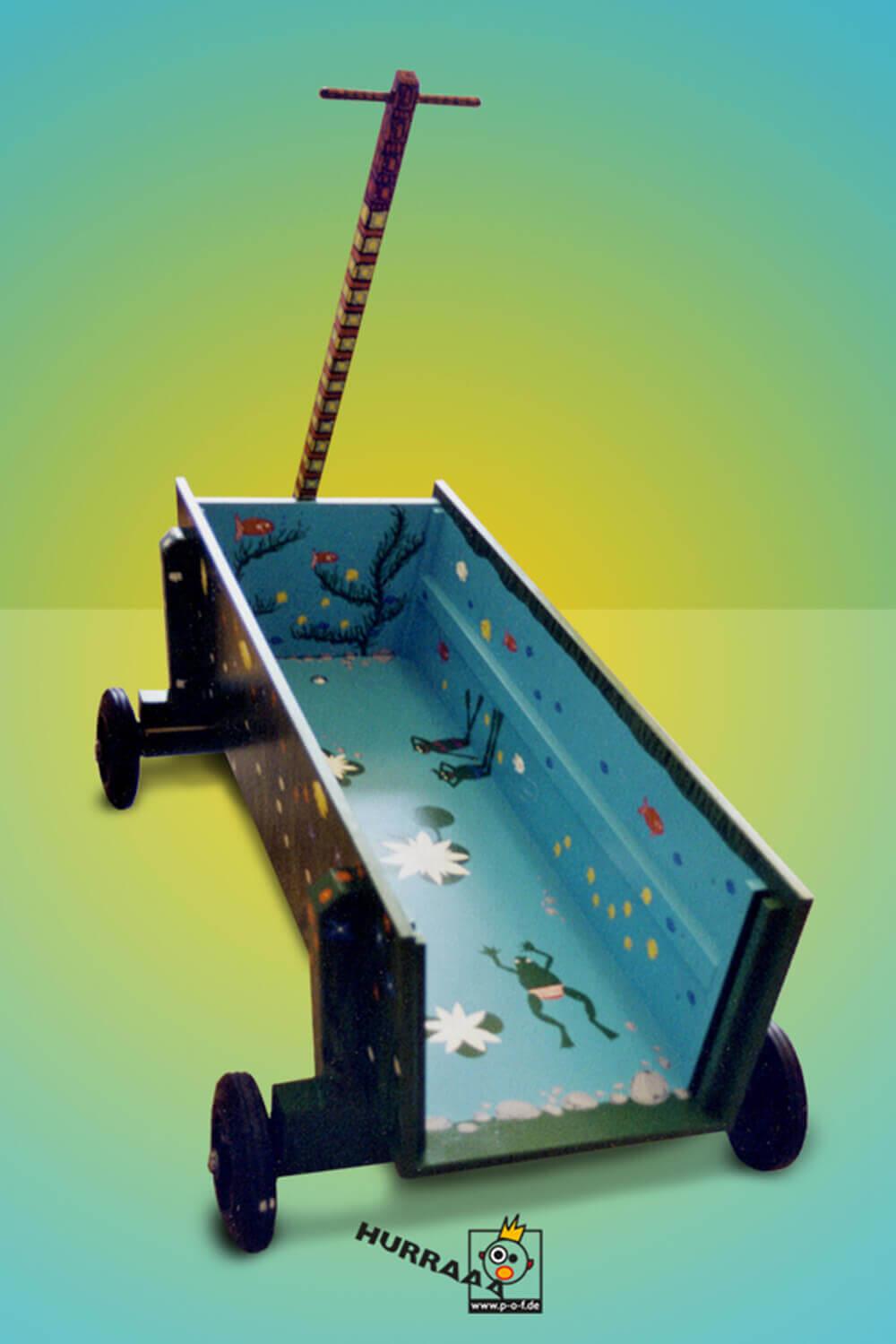 bunt bemalter Bollerwagen - Sicht auf Wassermotiv