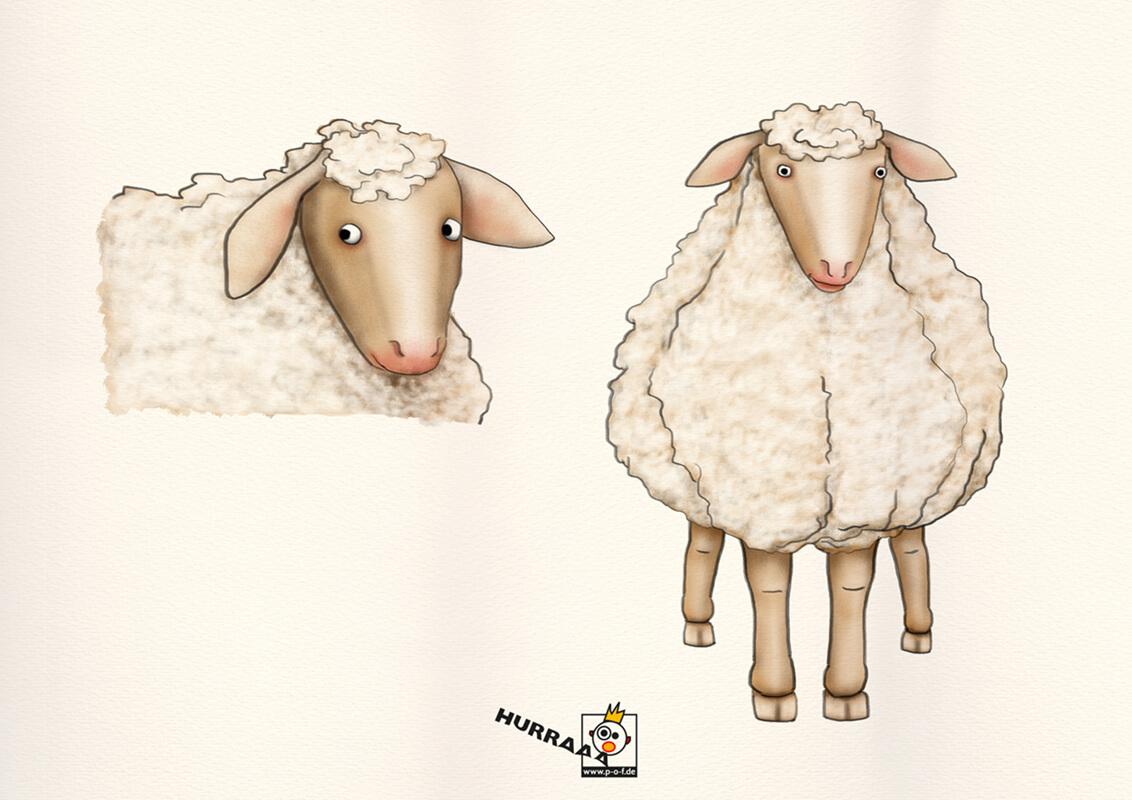 verschiedene Schaf-Posen