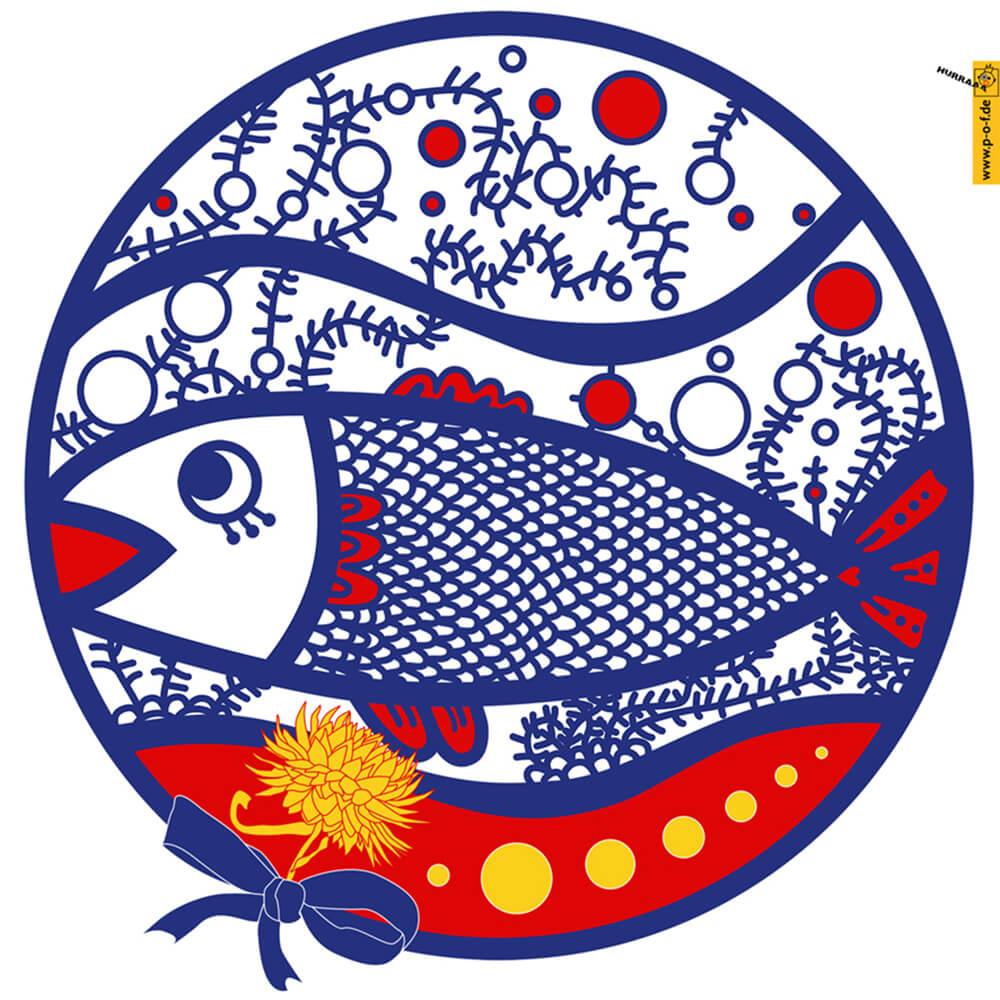 Stilisierter Fisch in den französischen Farben