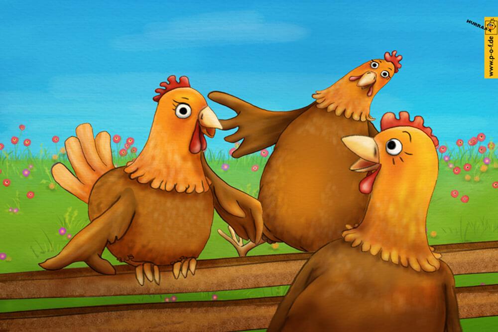 Comic-Hühner halten Smalltalk