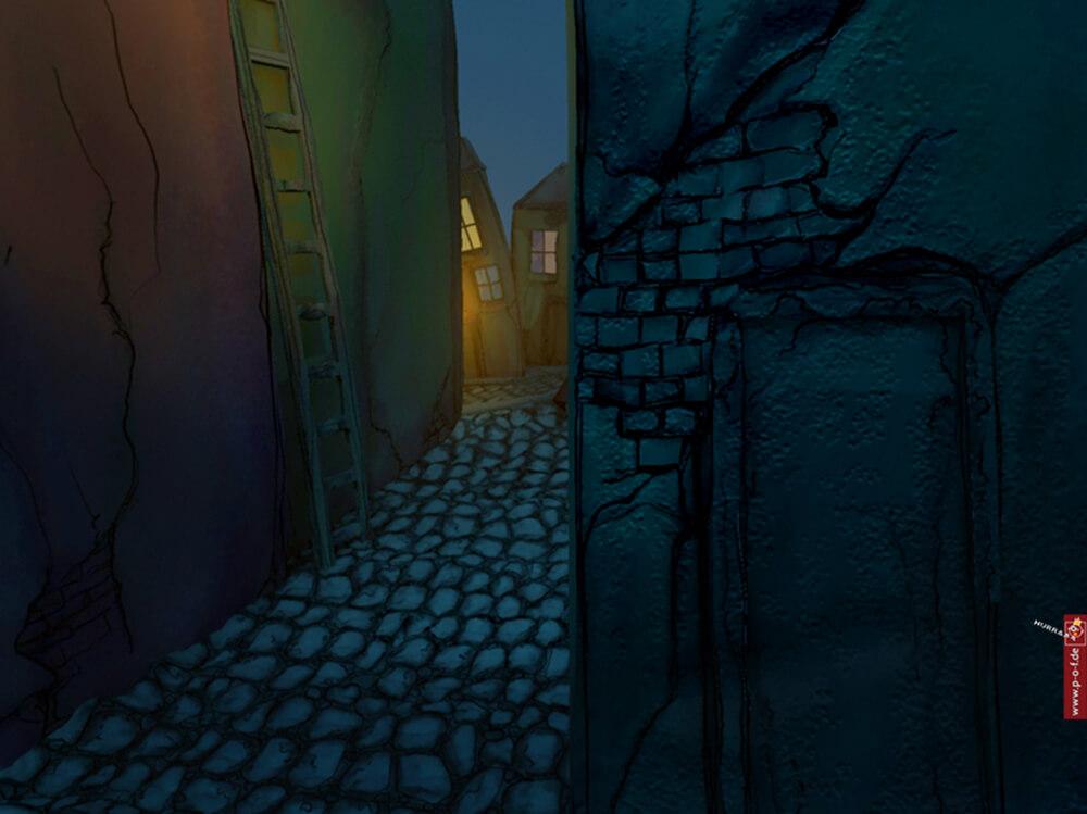 3d-Set-Stadt in Comic-Optik - Detail