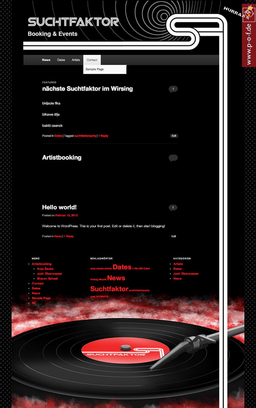 Web-Auftritt für Suchtfaktor / DJ-Zusammenschluss