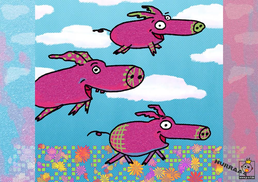 fliegende glückliche Schweine
