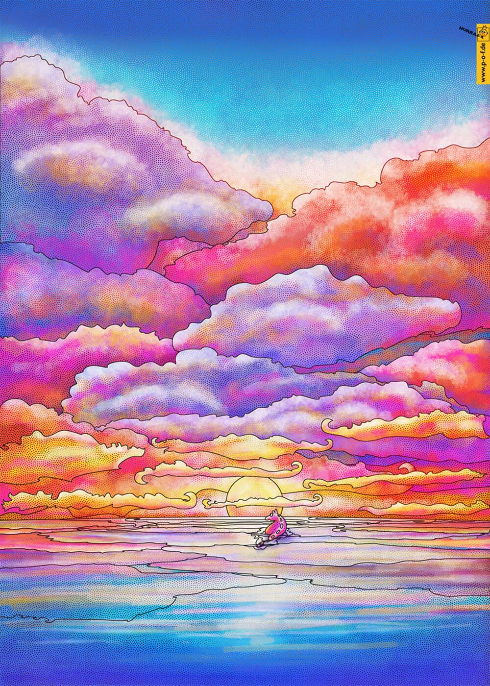 Fabeltier steht im Wasser und schaut in den Sonnenuntergang