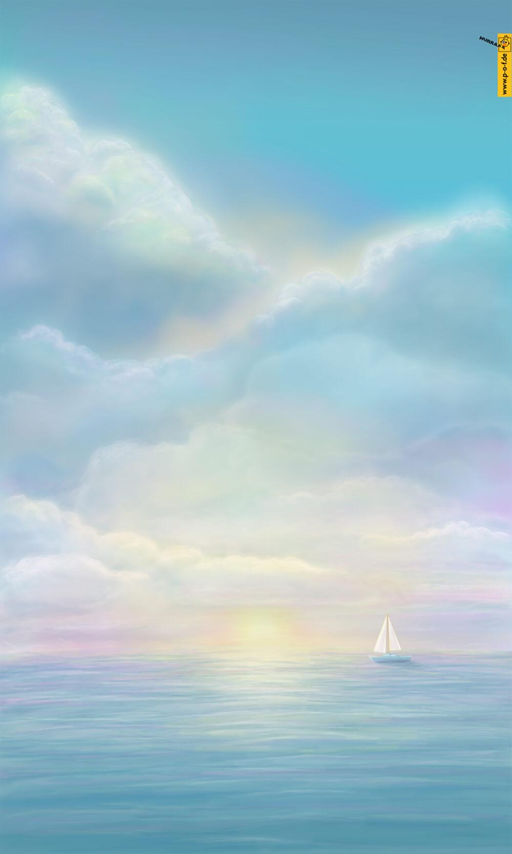Sonnenuntergang an der Seemit einem Segelboot am Horizont