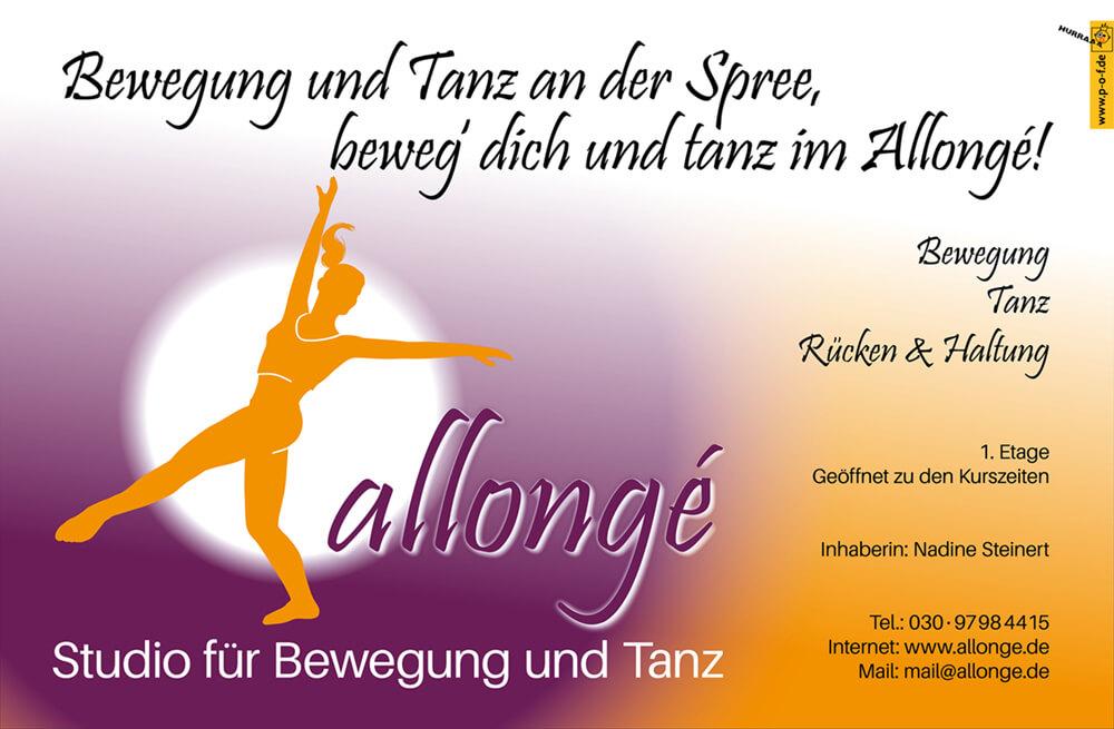 Allongé Tanzstudio Werbung für den Außenbereich