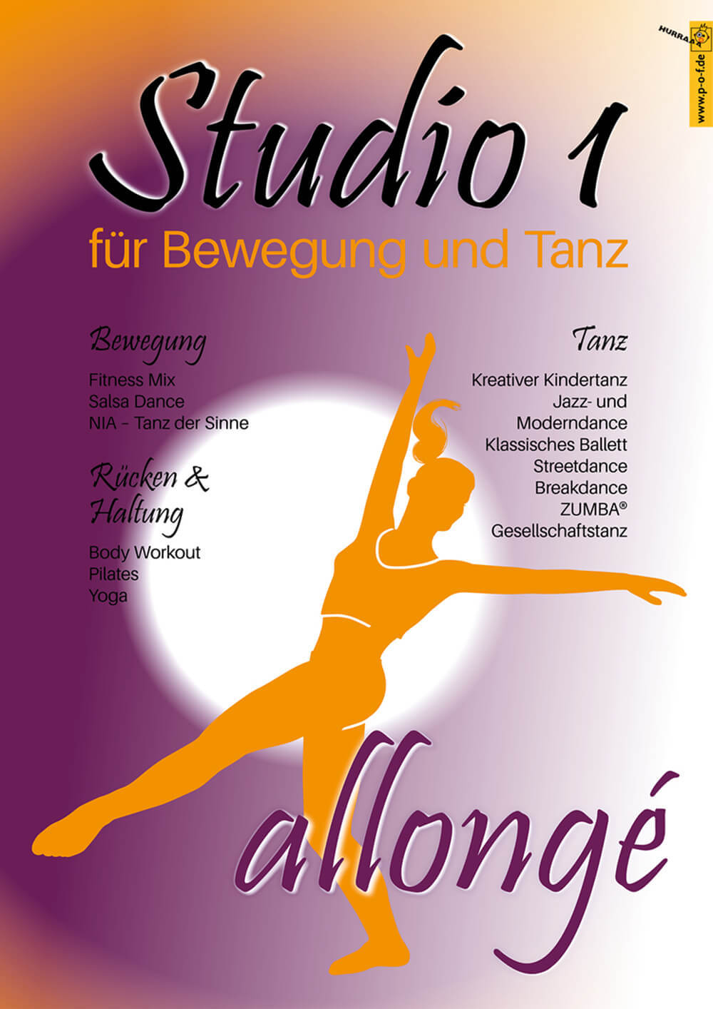 Allongé Tanzstudio Werbung für den Innenbereich