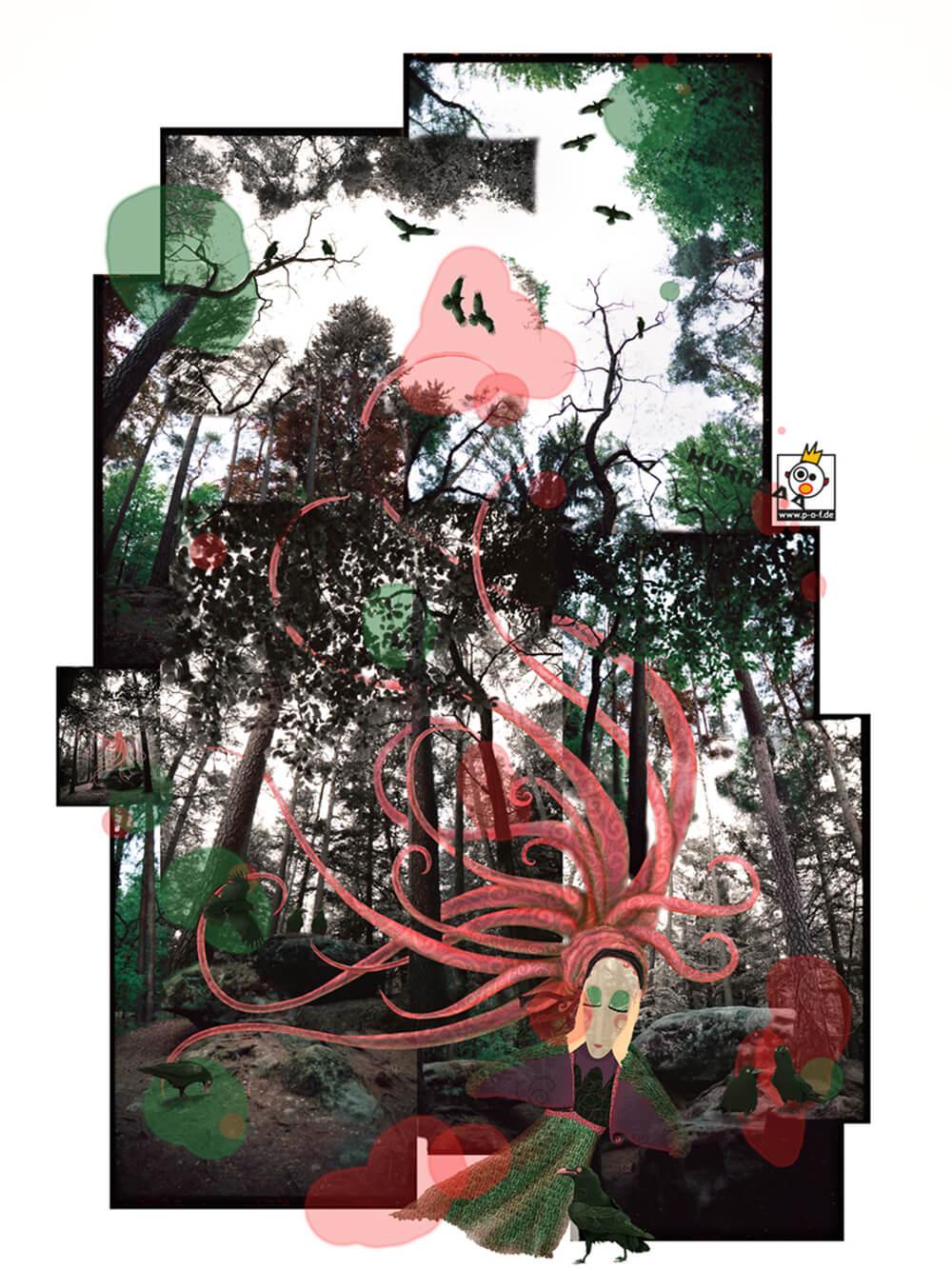 Fotocollage von Waldbildern mit gemalter Hexe und ihren Rabenfreunden