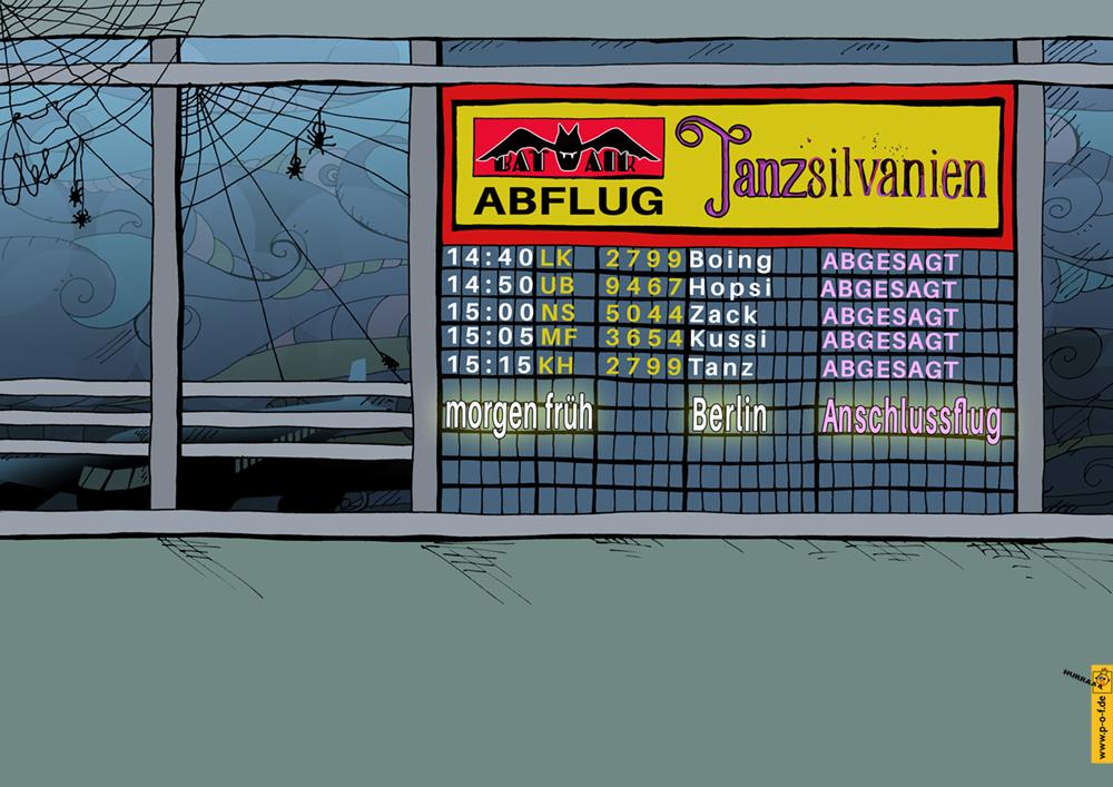 Flughafenhalle von Tanzsilvanien / Abflugtafel