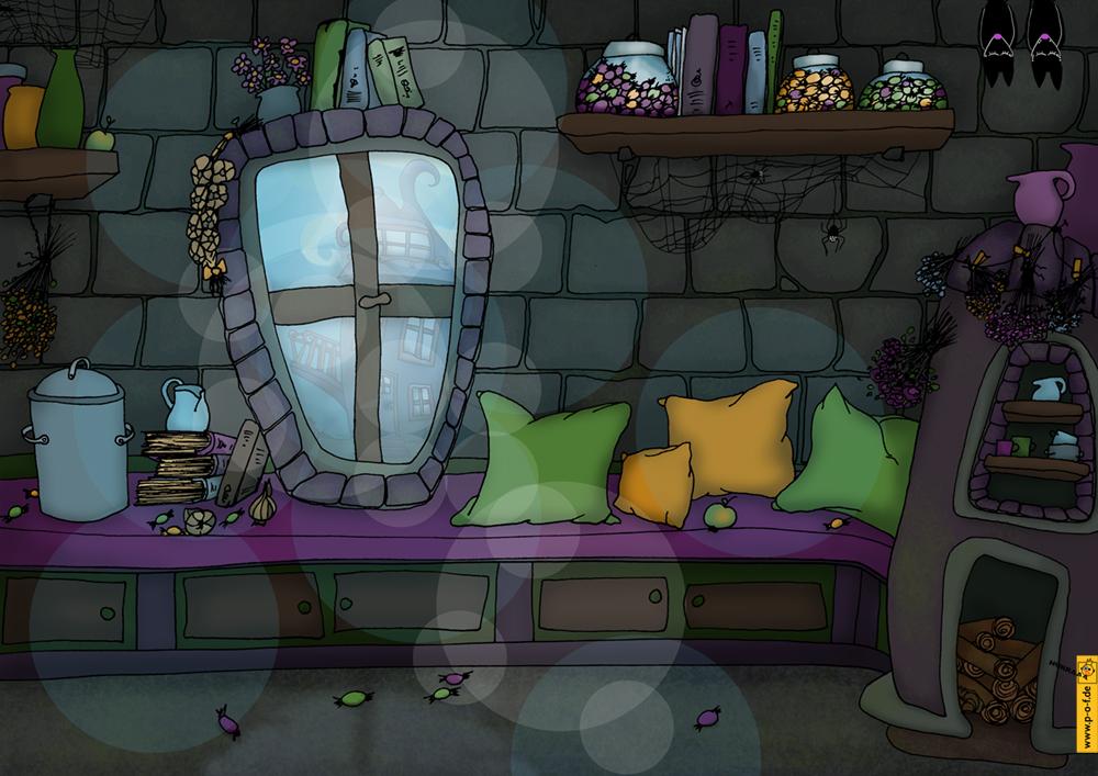 Wohnzimmer vom Kobold-Zuckerhexen-Haus