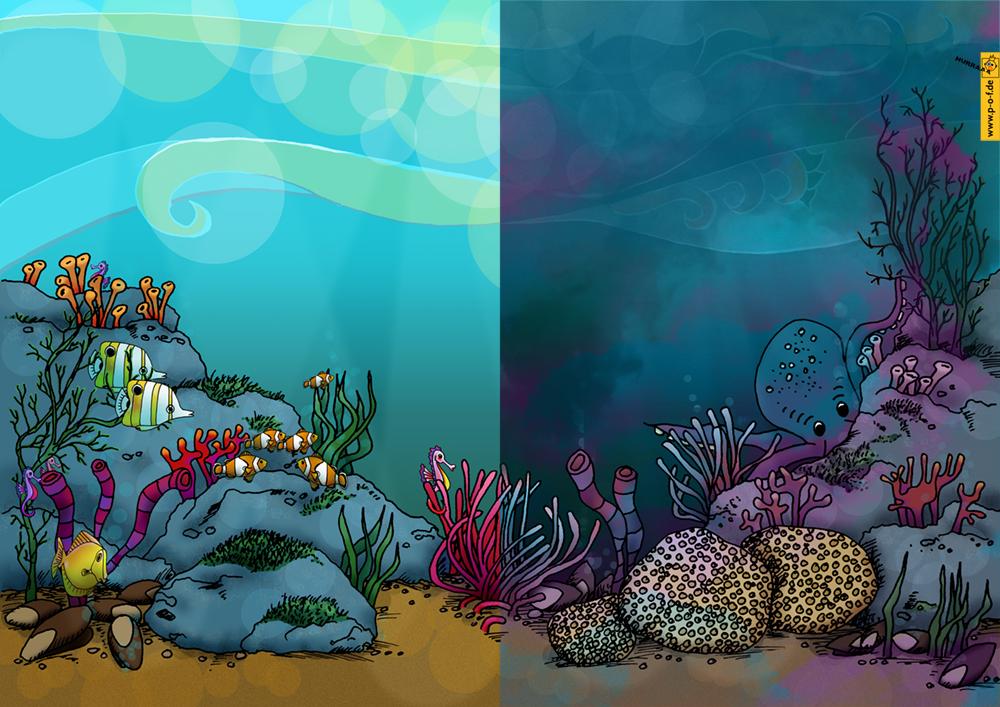 unter Wasser hell und vernebelt